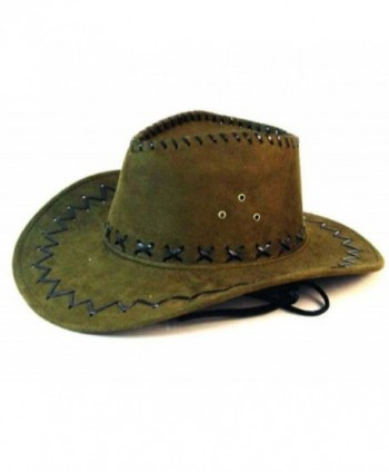Deluxe Olive Green Simulated Suede Leather Western Style Cowboy / Cowgirl Hat - CM11R30FZUR