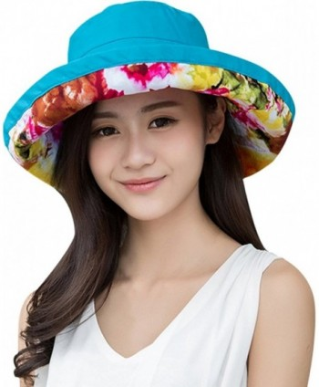 Lovful Women's Lady's colorful Bucket Hat Summer Beach Hat Outdoor Garden Hat - Blue - CD12IMV12XJ