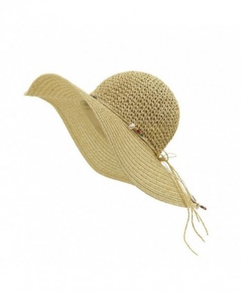 LETHMIK Straw Hat Womens Summer Beach Sun Hat Manual Wampum Ladies Floppy Wide Brim Hat - Beige - CZ12EOCQN9X