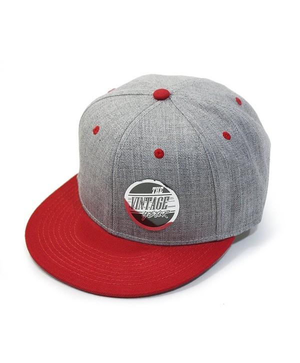 Premium Heather Wool Blend Flat Bill Adjustable Snapback Hats Baseball Caps - Red/Heather Gray - C3126IN1YD1