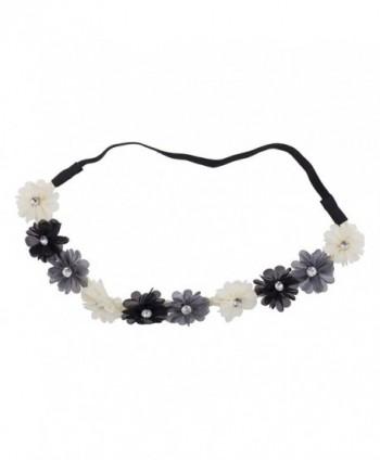 Lux Accessories Multi Color Chiffon Rhinestone Flower Crown Floral Headband Headwrap - Black Ivory Grey - CM12N4SM5TB