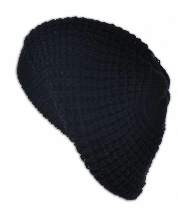 Knit Crochet Beanie Tam - Black - CJ11HD8HJXZ