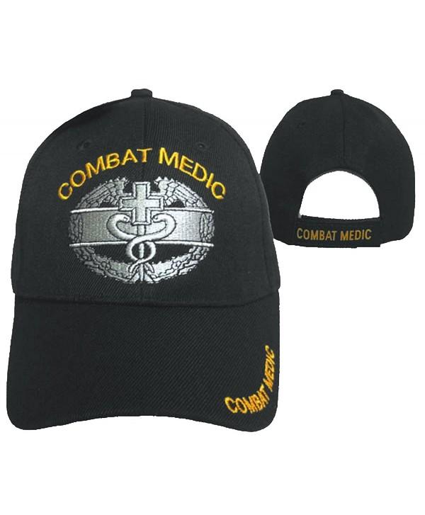 Combat Medic Cap Black U.S. Army Embroidered Military Hat - C012ODQFY09
