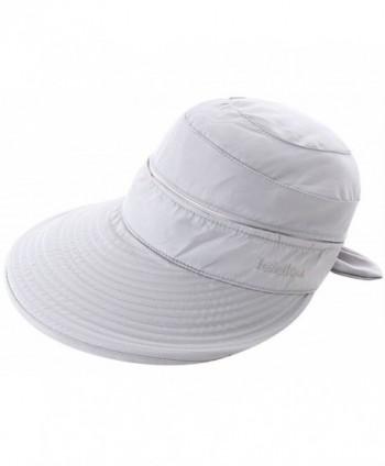 EPGW Women's UV Protection Wide Brim Summer 2in1 Visor Sun Hat - Grey - CJ12C2832GN