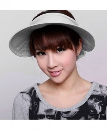 b4541d61 Women's UV Protection Wide Brim Summer 2in1 Visor Sun Hat - Grey ...