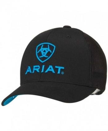 Ariat Men's Black Blue Half Mesh Hat - Black - CQ11JJW0PRZ