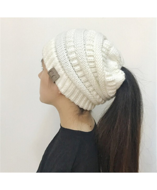 Heyuni. Women BeanieTail Soft Stretch Cable Knit Messy High Bun Ponytail Beanie Hat-White - White - C7188ZKSSEY