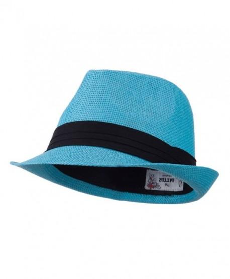 Pleated Hat Band Straw Fedora Hat - Turquoise W18S37F - CP11E8U1N8N