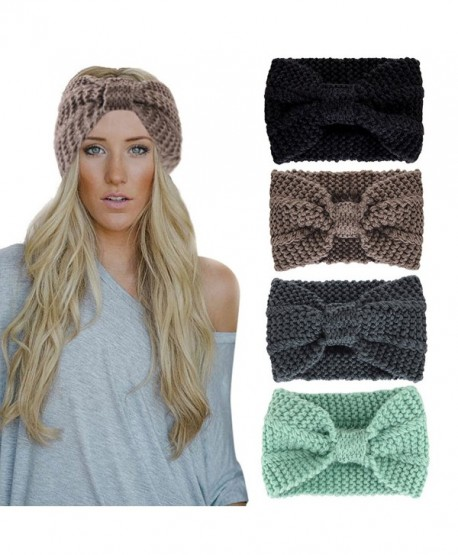 Women Girls Knit Crochet Bow Headband Head Wrap Hat Ear Warmer