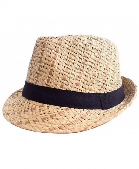 07aa08de3b9 Straw Fedora Hat Men   Women s Summer Short Brim Beach Cap with Band -  Brown Hat With Black ...