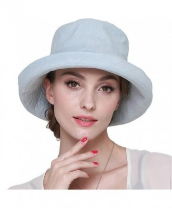 LITHER Women's Sun Protective Cotton Bucket Hat for Summer Beach Hat - Light Blue - CO17YY2LMGY