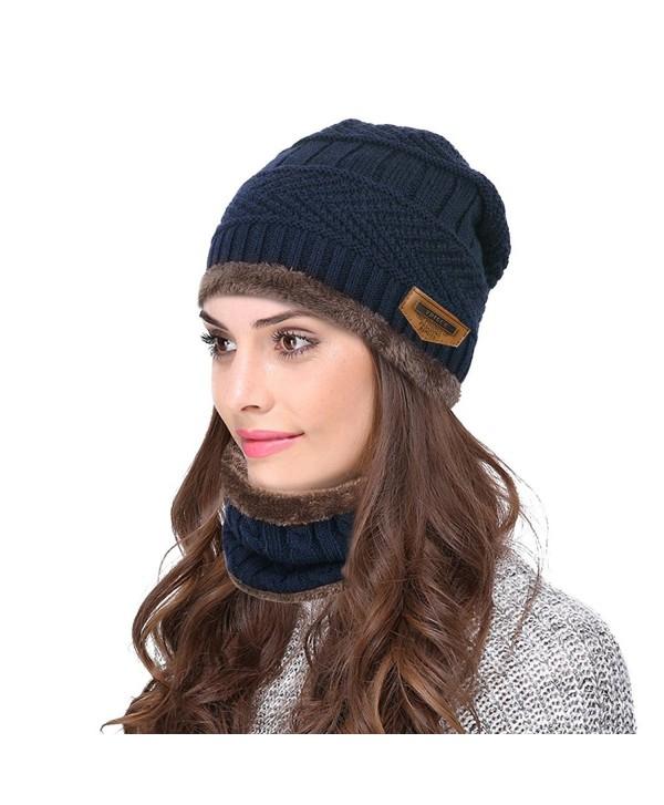 VBIGER Winter Beanie Hat Scarf Set Warm Knit Hat Thick Knit Skull Cap For Men Women - Navy Blue - C118857M6N0