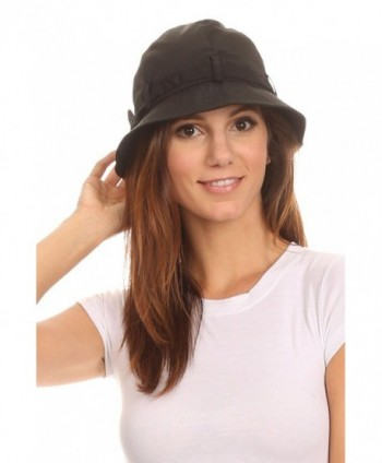 LL Womens Packable Cloche Rain Hat Cute Tie Accent Mesh Lining Water Resistant - Black Cloche - CH12I3URHUV