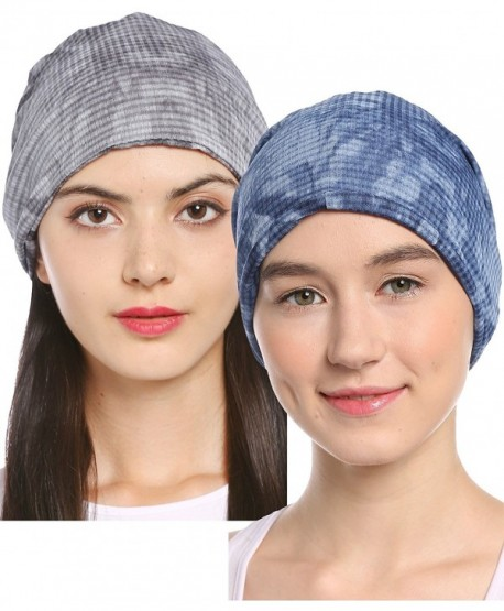 Ababalaya Women's Soft Breathable 3-Way Solid Knit Chemo Beanie Turban Headband Nightcap - Sapphire+gray - C3182G0I8UD