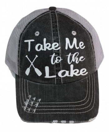 Loaded Lids Women's Take me to the Lake Distressed Bling Baseball Cap - Grey/White - CF183KT4DUE