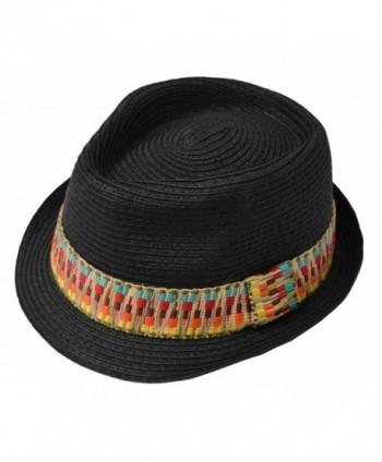 Straw Fedora Hat with Rainbow Band Medium Black - CR119B9MZER