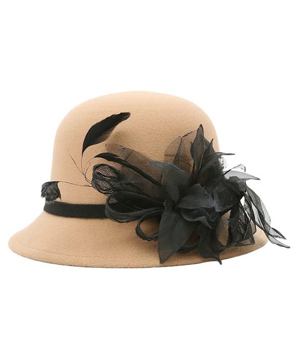 MatchLife Women's Vintage Wool Blend Felt Cloche Winter Hat with Fascinator Retro Warm Bowler Hat - Style 2-khaki - CL185QMK424