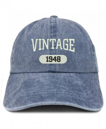 Trendy Apparel Shop Vintage 1948 Embroidered 70th Birthday Soft Crown Washed Cotton Cap - Navy - CJ12O34Y8UO