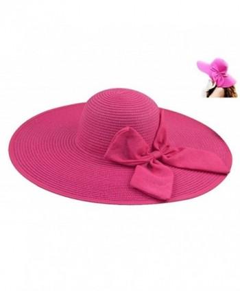 1127bd9757adec Gellwhu Womens Flax Bow Wide Large Brim Summer Beach Straw Sun Hat Derby Cap  - Hotpink