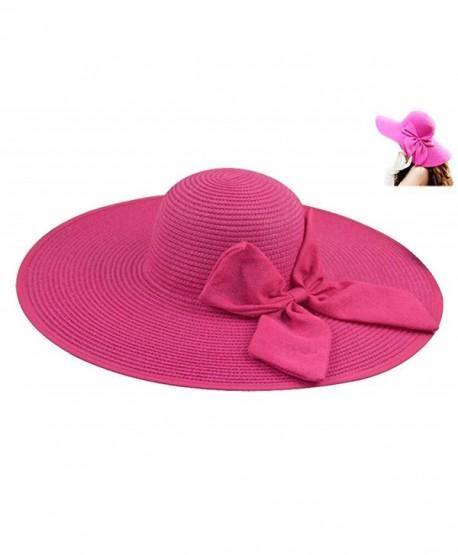 0642051957ed8 Gellwhu Womens Flax Bow Wide Large Brim Summer Beach Straw Sun Hat Derby Cap  - Hotpink