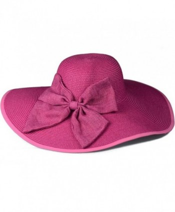 a5d92da462f09 Gellwhu Womens Flax Bow Wide Large Brim Summer Beach Straw Sun Hat Derby Cap  - Hotpink  Gellwhu Womens Large Summer Hotpink