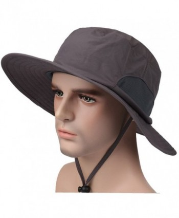 NEOSAN Sport Sun Protection Hats Fishing Caps Flap Wide Brim Mesh Hat - Wide Brim Charcoal - C017YKOI77R