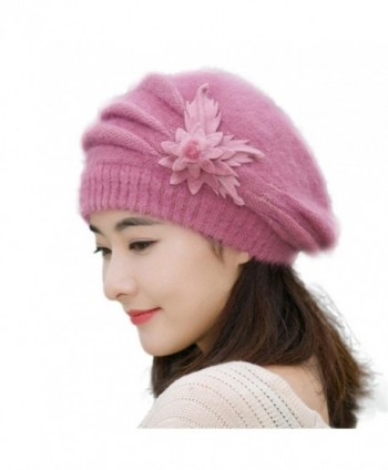 Tuscom Fashion Womens Flower Knit Crochet Beanie Hat Winter Warm Cap Beret - Purple - CX12N4S3U43