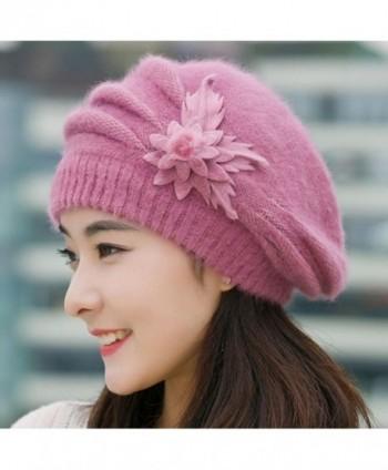 d6531a64784 Tuscom Fashion Womens Flower Knit Crochet Beanie Hat Winter Warm Cap Beret  - Purple - CX12N4S3U43  Tuscom Fashion Womens Flower Crochet ...