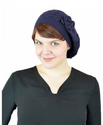 Belle Donne - Women's Mesh Crocheted Accented Stretch Beret Hat - Many Colors - Navy 4082 - CP12EZVVBYZ