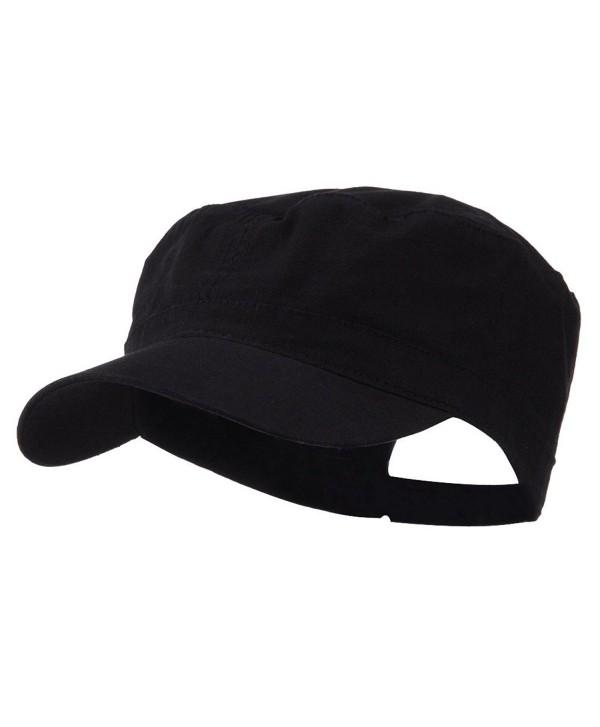 Big Size Adjustable Cotton Ripstop Army Cap - Black (For Big Head) - C911E8U8YKD