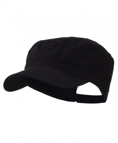 Big Size Adjustable Cotton Ripstop Army Cap - Black (For Big Head) - C911E8U8YKD