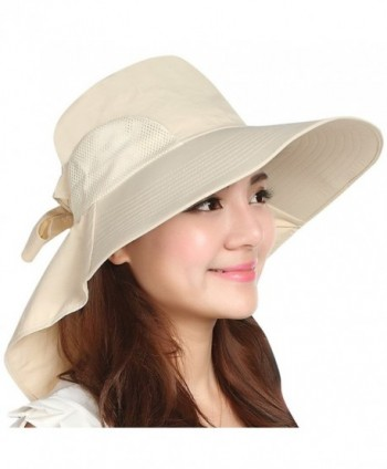 Jemis Women's Big Brim Summer Hat with Neck Cover - Beige - CR11XV9EYH9