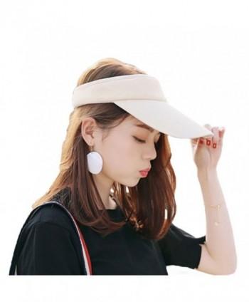 RICHTOER Wide Brim UV Protection Visor Sun Hat With Adjustable Strap Open-Top Peaked Flat Hat - Beige - CJ185OAMX8K