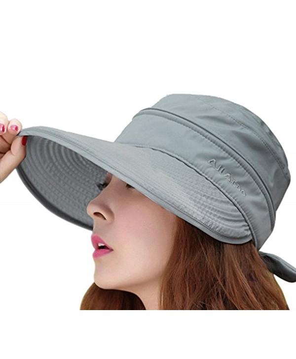 Womens 2in1 Wide Brim Summer Folding Anti-UV Golf Tennis Sun Visor Cap Beach Hat - Grey - CX12E3YZAFT
