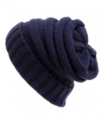 Duolaimi Knitted Hats Warm Soft Stretch Cable Slouchy Beanies - Dark Blue - CK12N0KES0L