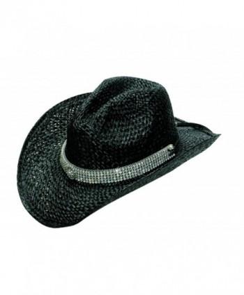 Blazin Roxx Women's Mesh Bling Raffia Hat - Black - CF1184XHSSJ
