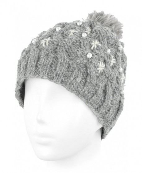 Knit Wool Beanie Skull Cap Toque With Fleece Lining - Oxford Gray- White  Pompom - CS129ZTCAJB 3a6e8940ed4