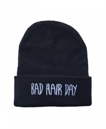 E-SHINE CO New Black Bad Hair Day Embroidery Beanie Skull Cap Hip Hop Hat - C011SAQFUHZ