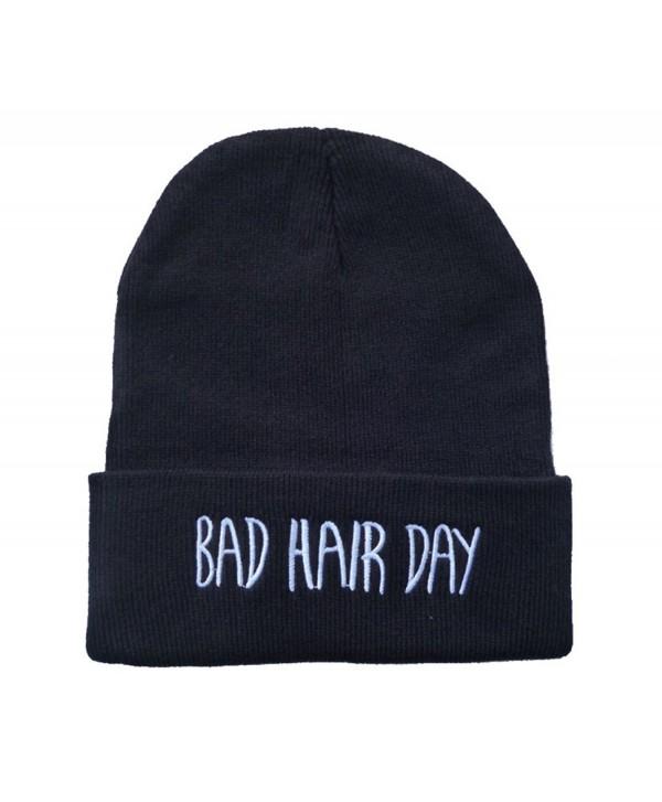 E-SHINE CO New Black Bad Hair Day Embroidery Beanie Skull Cap Hip Hop Hat - C011SAQFUHZ