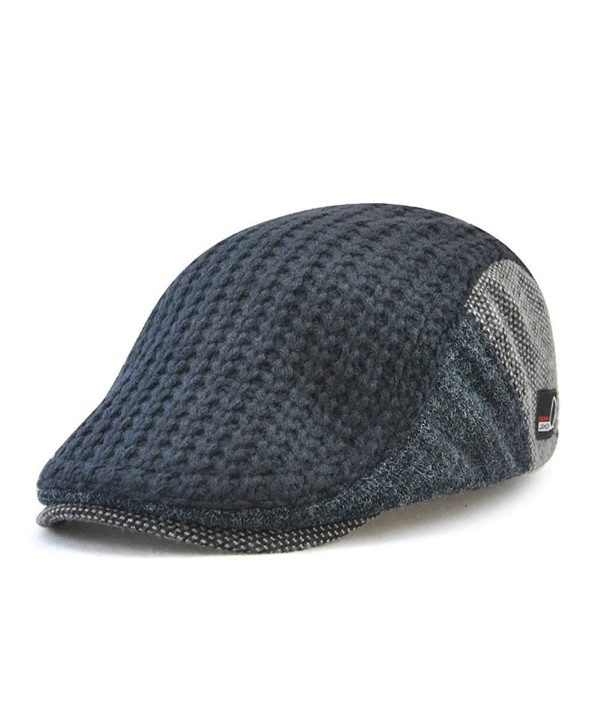 Gudessly Men's Knitted Wool Cabbie Driving duckbill Hat Warm newsboy Flat Scally Cap - Dark Blue - C7188UYW0I3