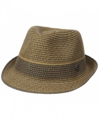 Ben Sherman Men's Multi-Stripe Straw Trilby - Brown - CZ12BU649BP