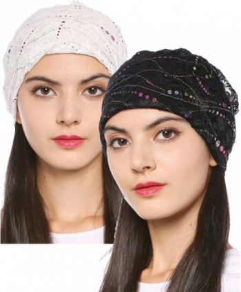 44cb46c69e3 Ababalaya Women s Soft Breathable Floral Sequins Lace Turban Chemo Beanie  Nightcap - Black+white -