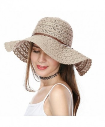 JULY SHEEP Summer Lace Cotton Sun Hat Wide Brim Beach Hat Floppy Summer Sun Caps Foldable - Khaki - CB183NSNUG9
