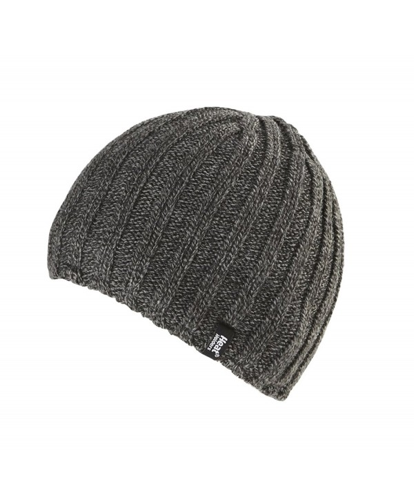 Heat Holders - Men's Thermal Fleece Ribbed Knitted Winter Hat 3.4 Tog - One Size - Charcoal Grey - C61220VXVBD