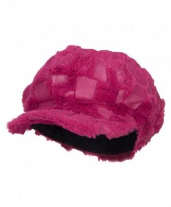 Soft Fur Patttern Newsboy Hat - Fuchsia - CO12HV9QOWH