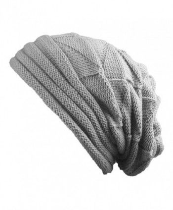 Fashion Women Knit Cap Warm Winter Beret Braided Baggy Crochet Beanie Hat Ski Cap - Shadow Gray - CV1866DKQWE