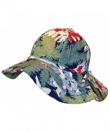 David & Young Womens Wide Brim Bucket Hat W/Floral Designs (One Size) - Green/Blue/Red/Navy - CB12N15E9L4