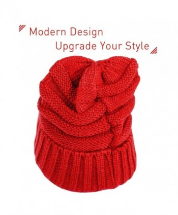 Zodaca Unisex Oversized Wavy Cable Knit Slouchy Beanie Knit Hat Skull Cap For Men and Women - Red - C0188E5KULI