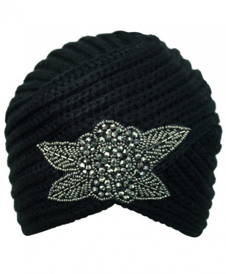 Luxury Divas Winter Knit Turban Beanie With Beaded Flower - Black - CV110Q0JVXX