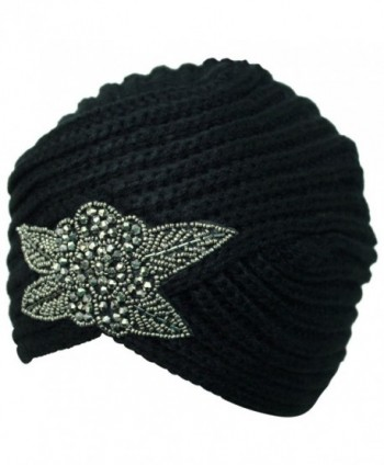 Winter Turban Beanie Beaded Flower